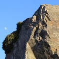 Sunset Boulders under a nearly full moon.- Kortum Trail