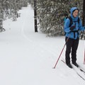 Cross-country skiing on the South Loop Trail.- South Loop Spur Trail