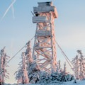 The frozen fire lookout tower on Black Butte.- Black Butte Hike