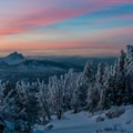 A sunset view of Three Fingered Jack (7,844 ft) from Black Butte.- Black Butte Hike