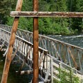 Suspension bridge over the Lochsa River.- Jerry Johnson Hot Springs