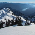 Looking south at Baker Lake from Mount Ann's summit.- Mount Ann