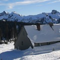 Paradise Inn and Tatoosh Range.- Paradise Inn
