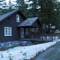 Longmire: On-site staff residential cabins.- Longmire + National Park Inn