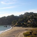 The Muir Beach housing community keeps watch above Muir Beach.- Muir Beach
