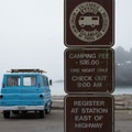 The day use area in the park allows camping in vehicles in the beachside parking lot. - Van Damme State Park