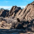 "Walking in the ""U"" shaped moat of Flatiron Rock.- Flatiron Rock Trail"