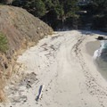 The trail passes Gibbons Beach. Access is provided via the stairway.- Bird Island Trail
