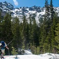 Going cross-country in Lower Royal Basin. - Royal Basin Backcountry Ski Tour