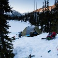 Camp above Royal Lake.- Royal Basin Backcountry Ski Tour