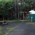 Yurt campsite in Grayland Beach State Park Campground.- Grayland Beach State Park Campground