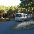 Pull-through RV site in Grayland Beach State Park Campground.- Grayland Beach State Park Campground