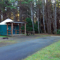 Yurt campsite Grayland Beach State Park Campground.- Grayland Beach State Park Campground