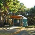 Yurt campsite in Twin Harbors State Park Campground.- Twin Harbors State Park