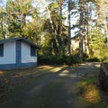 East side area restroom and shower facilities in Twin Harbors State Park Campground.- Twin Harbors State Park Campground