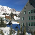 Mount Rainier (14,411') and Paradise Inn from the trailhead.- Paradise Valley Snowshoe Loop