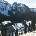 View south toward the Tatoosh Range and Paradise Inn from Paradise Winter Campsite.- Paradise Winter Campsites