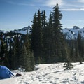View south toward the Tatoosh Range from Paradise Winter Campsite.- Paradise Winter Campsites