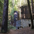Remnants of large limekiln funaces hide in a redwood forest at the end of the Limekiln Trail.- Limekiln State Park