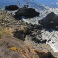 A small rocky beach is accessible from the campground.- Kirk Creek Campground