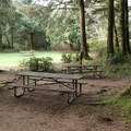 The hiker and biker camp is near the showers and an open grassy area.- Carl G. Washburne Memorial State Park Campground