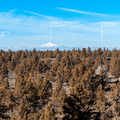 The panoramic view from Flatiron Rock. Three Fingered Jack, Black Butte, Mount Jefferson, and Olallie Butte seen in the distance. - Flatiron Rock Trail