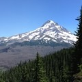 The frst view of Mount Hood (11,249') comes a mile in just off of the trail.- Owl Point Hike