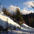 Scoured snow on the return below the ridge.- Wenatchee Ridge Trail