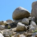 Granite boulders on the approach to Vogelsang Peak.- Vogelsang Peak