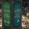 A trail marker in Deer Island Open Space Preserve.- Deer Island Open Space Preserve