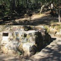Historic stone-constructed grills at Bootjack Campground.- Bootjack Campground