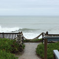 Western sea overlook with benches.- Point Montara Lighthouse Hostel