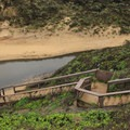 Beach access from the north lot to Martini Creek, which occasionally floods.- Montara State Beach