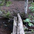 The bridge near Memaloose Lake that crosses to camping areas.- Memaloose Lake