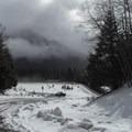 Leaving the winter parking lot near I-90.- Talapus Lake Snowshoe