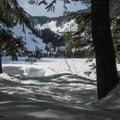 First views of Talapus Lake.- Talapus Lake Snowshoe
