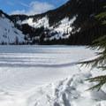 Talapus Lake from the southwest shore.- Talapus Lake Snowshoe