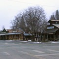 A glimpse of historic downtown Winthrop, Washington.- The Rolling Huts