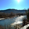 Beautiful winter views of the Wenatchee River on the Golf Course Trails.- Leavenworth Golf Course Trails