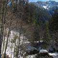 Looking back down the valley.- Lake Elizabeth Snowshoe