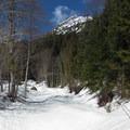 Mountain views opening up.- Lake Elizabeth Snowshoe
