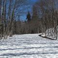 Following the route.- Lake Elizabeth Snowshoe