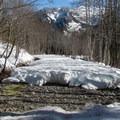 Dry creek crossing on the way down.- Lake Elizabeth Snowshoe