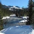 Looking down the Cle Elum River from the bridge crossing.- Cooper River Trail