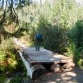 A log bridge over June Creek.- June Lake