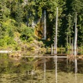 June Lake with waterfall.- June Lake