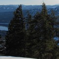 Summit view of Cle Elum Lake and Mount Rainier (14,411').- Hex Mountain