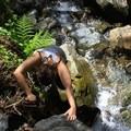 Ascending the ravine.- Steep Ravine Climb