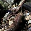 Wreckage in the ravine.- Steep Ravine Climb