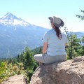 At the summit of Lost Lake Butte with a view of Mount Hood (11,249').- Lost Lake Butte